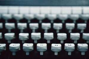 white typewriter buttons